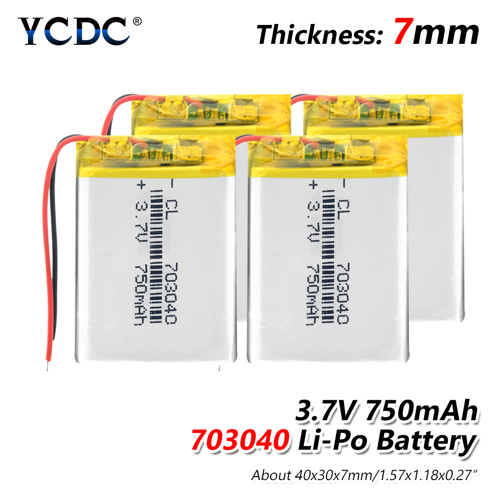 1/2/4pcs 3.7v Rechargeable 750mAh Li-polymer Battery 703040 40x30x7mm Lithium Li-ion Polymer Bateria With PCB Charge Protection