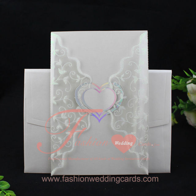 50 Pcs Lot Heart Folded Plastic Pvc Special Bengali Printing Wedding Invitations Card With Blank