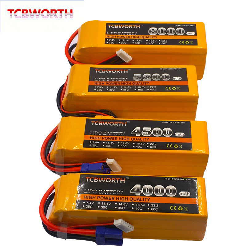 22.2V RC Airplane LiPo Battery 6S 3500mAh 4000mAh 4500mAh 5000mAh 5200mAh6000mAh 30C 40C 60C For RC Helicopter Drone Car 6S AKKU