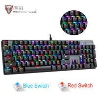 Оригинальная игровая механическая клавиатура Motospeed CK104 RGB, русская английская красная синяя клавиатура с подсветкой для геймера