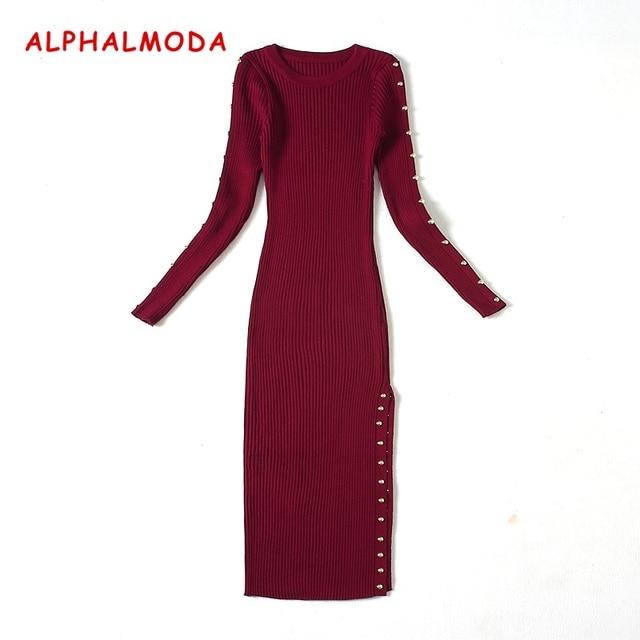 [ALPHALMODA] 2017 Women Autumn and Winter Knited Slim Vestidos Rivets Side Low Slit Long Sleeve Autumn Dress