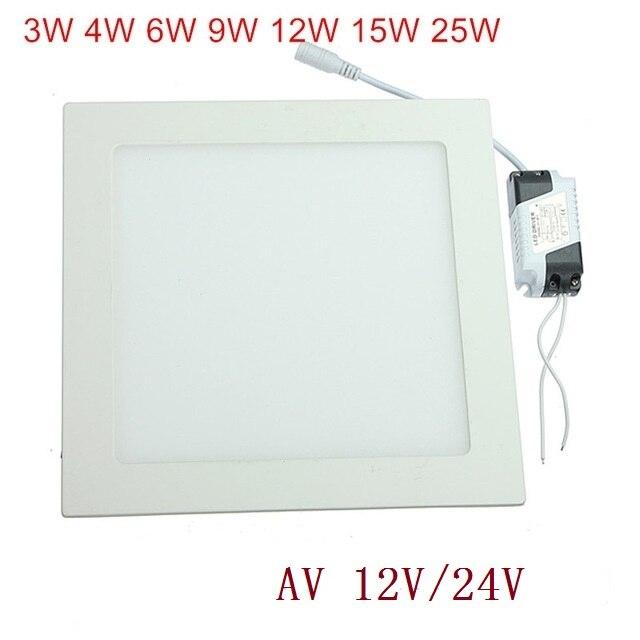 AC 12V/24V Ultra thin design 3W -25w LED ceiling recessed grid downlight / slim square panel light free shipping+Driver
