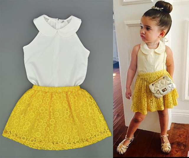 d98c07dc2 girls clothing sets Cute White doll collar shirt+yellow lace skirt suit fashion  baby girl dress summer style kids Skirt Clothing