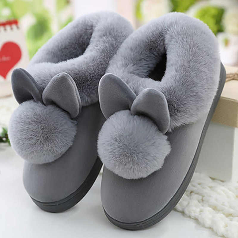 Women Slippers Cute Rabbit Furry Plush Winter Shoes New Ladies Slip On Comfort House Shoes Plus Size Female Warm Soft Footwear