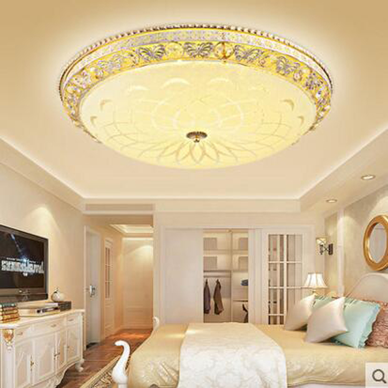Golden round bedroom crystal lamp modern minimalist living room led ceiling lamps atmospheric dining room study lighting fixture creative round ceiling led lamp bedroom lamp modern minimalist living room dining lamps