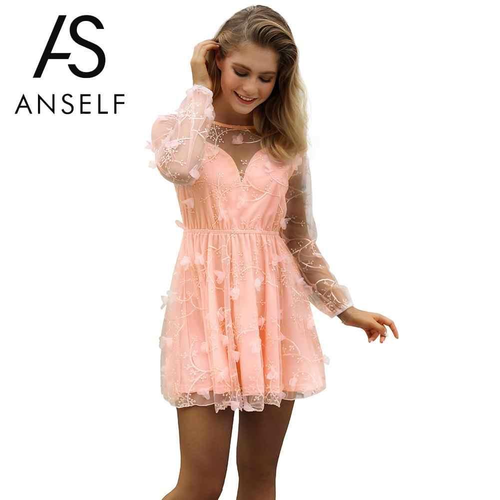 e02ff1bf83b Anself Sweet Girls Pink Dress Sexy Women Sheer Mesh Mini Dress Embroidery  Applique O-Neck