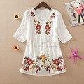 Nova Primavera e verão de 2014 Nacional tendência plus size bordado camisa manga curta blusas soltas Lazer.