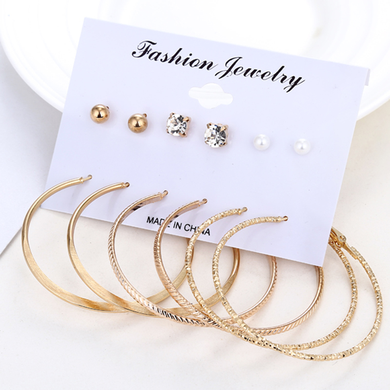 Candid 6 Pairs/set Vintage Dangle Big Circle Hoop Earrings Steam Punk Ear Clip For Women Punk Earring Party Jewelry Gifts E15752019 Sale Overall Discount 50-70% Hoop Earrings Jewelry & Accessories