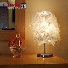 Творческий подарок перо Настольные Лампы спальня ночники декоративные лампы пера свет кнопка лампы 2015 новый