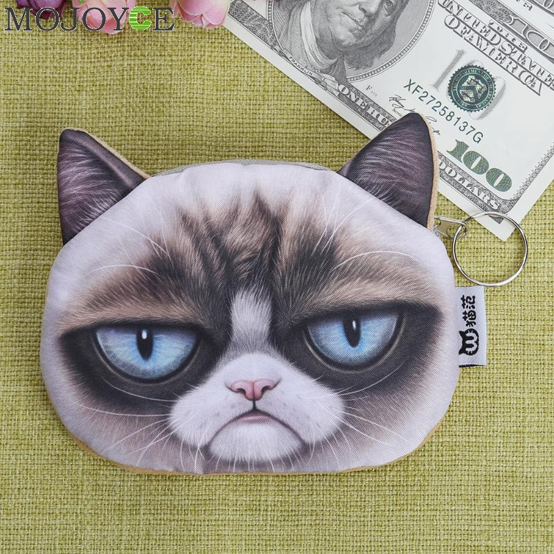 3D Cute Cat Face Coin Purse Zipper Design Coin Purse Wallet Simulation Animal Printing Cute Bag Small Cartoon Coins Wallets 2017 2017 new coin purses wallet ladies 3d printing cats dogs animal big face change fashion cute small zipper bag for women pouch