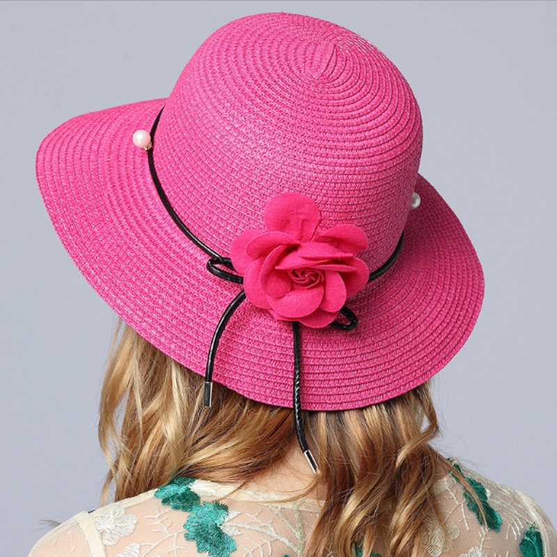 Solid Floppy Straw Hats For Women Simulated Pearl And Big Red Flower Accessories ladies Summer Beach