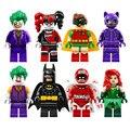 8 шт. лот съемочной Джокер Харли Квинн Бэтмен Робин Строительный Блок Игрушки Совместим с Лепин