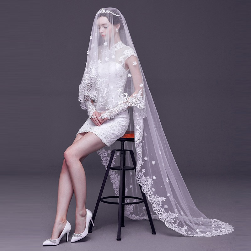 2019 Fashion Wedding Veil Lace 3 M White/Ivory 1 Layer Tulle Bridal Veils For Wedding Party Woman Wedding Accessories