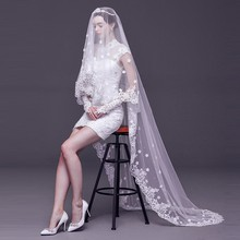 2019 Fashion Wedding Veil Lace 3 M White/Ivory 1 Layer Tulle Bridal Veils For Party Woman accessories