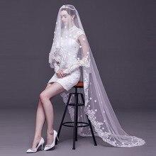 2019 Mode Bruiloft Sluier Kant 3 M Wit/Ivoor 1 Layer Tulle Bridal Veils Voor Wedding Party Vrouw Bruiloft accessoires