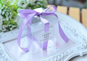 Image 3 - 5x5x5cm PVC Clear Candy Boxes Wedding Decorations Party Supplies Gift Box Baby Shown Favors Candy Box with Ribbon