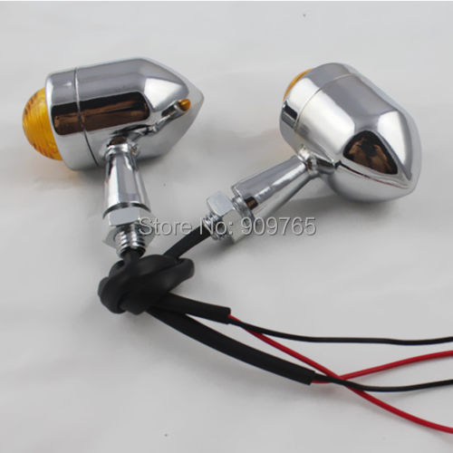 Chrome Amber TURN SIGNAL LIGHT Indicator For Honda Shadow Sabre Aero Kawasaki Vulcan suzuki Boulevard Motorcycles