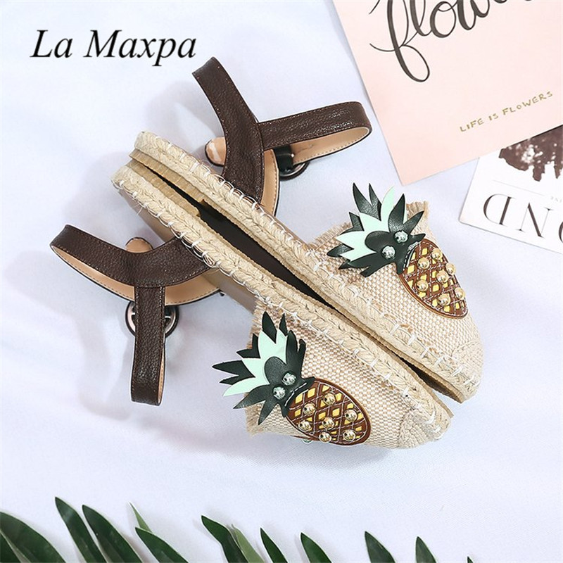 Shoes Flats Pineapple Canvas Espadrilles Women Summer Fisherman Breathable Straw Cute Round Toe Hemp Slip On Loafer Boats Shoes