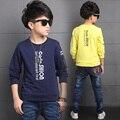 Adolescente meninos polo crianças camisa primavera outono moda carta de impressão o pescoço algodão T-shirt Longo Da Luva Tops 4 6 8 10 12 14A