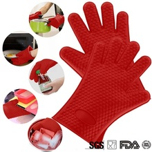 1PCS Food Grade Heat Resistant Silicone Kitchen Barbecue Oven Gloves Cooking BBQ Grill Glove Mitts Baking 27.5x17.5CM