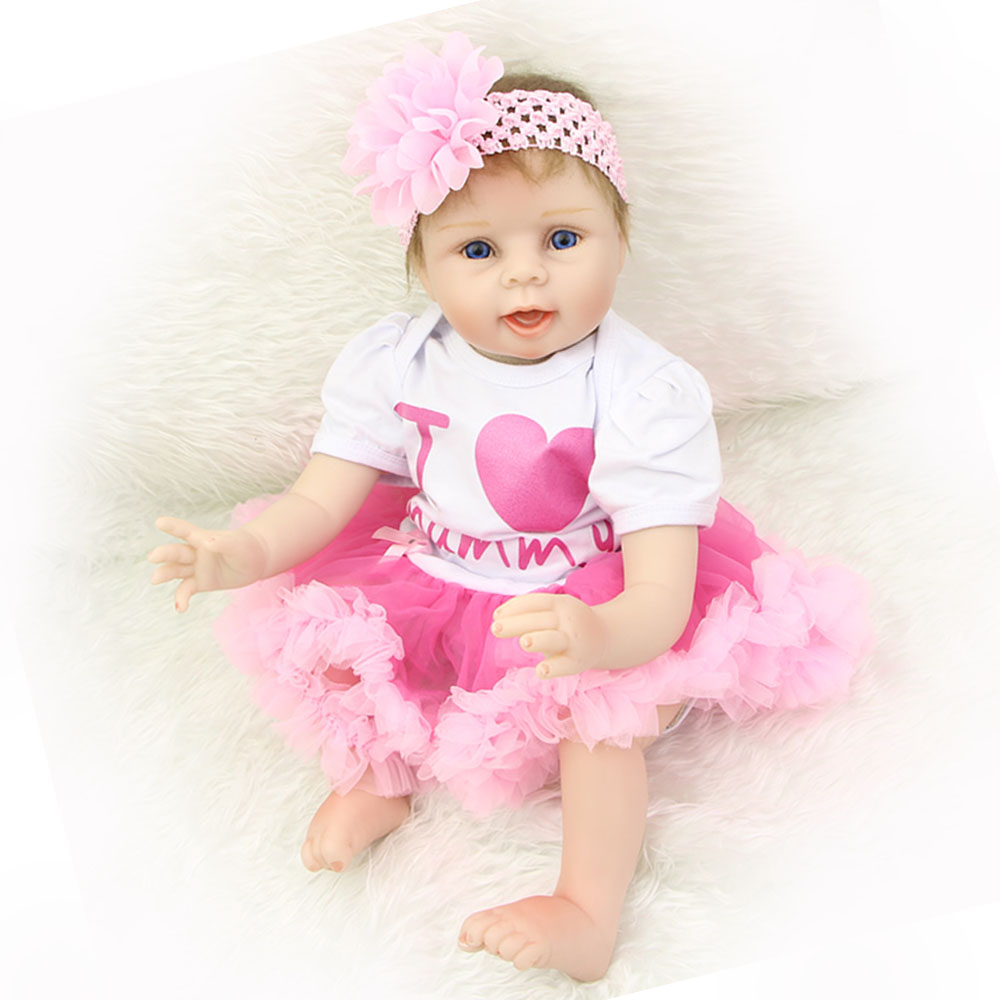 Realistic 22'' Reborn Babies Silicone Vinyl Newborn Baby Doll Girl Toy Truly Real Princess Dolls Boneca Kid Birthday Xmas Gift 22 inches soft silicone reborn baby dolls cloth body real looking newborn alive girl babies boneca toy kids birthday xmas gift