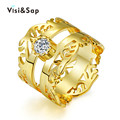Rock King Rings for Men women wedding bands engagement Bijoux fashion Jewelry luxury cz diamond  yellow Gold Plated V18KR016