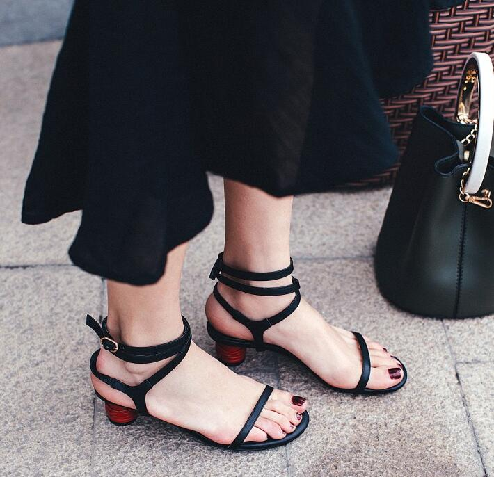 2018 Summer Concise Style Women Black Leather Strap Sandals Sexy Open Toe Ladies Ankle Buckles Dress Shoes Red Straps Heel concise open toe thick heel sandals comfortable city ol leisure red sole sandals 16 summer stylish hot ankle strap women s shoes