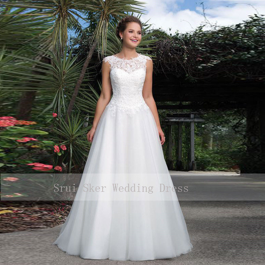 Floor Length Tulle Gown White A-Line Wedding Dresses Scoop Lace Neckline Lace Up Back Bridal Gowns