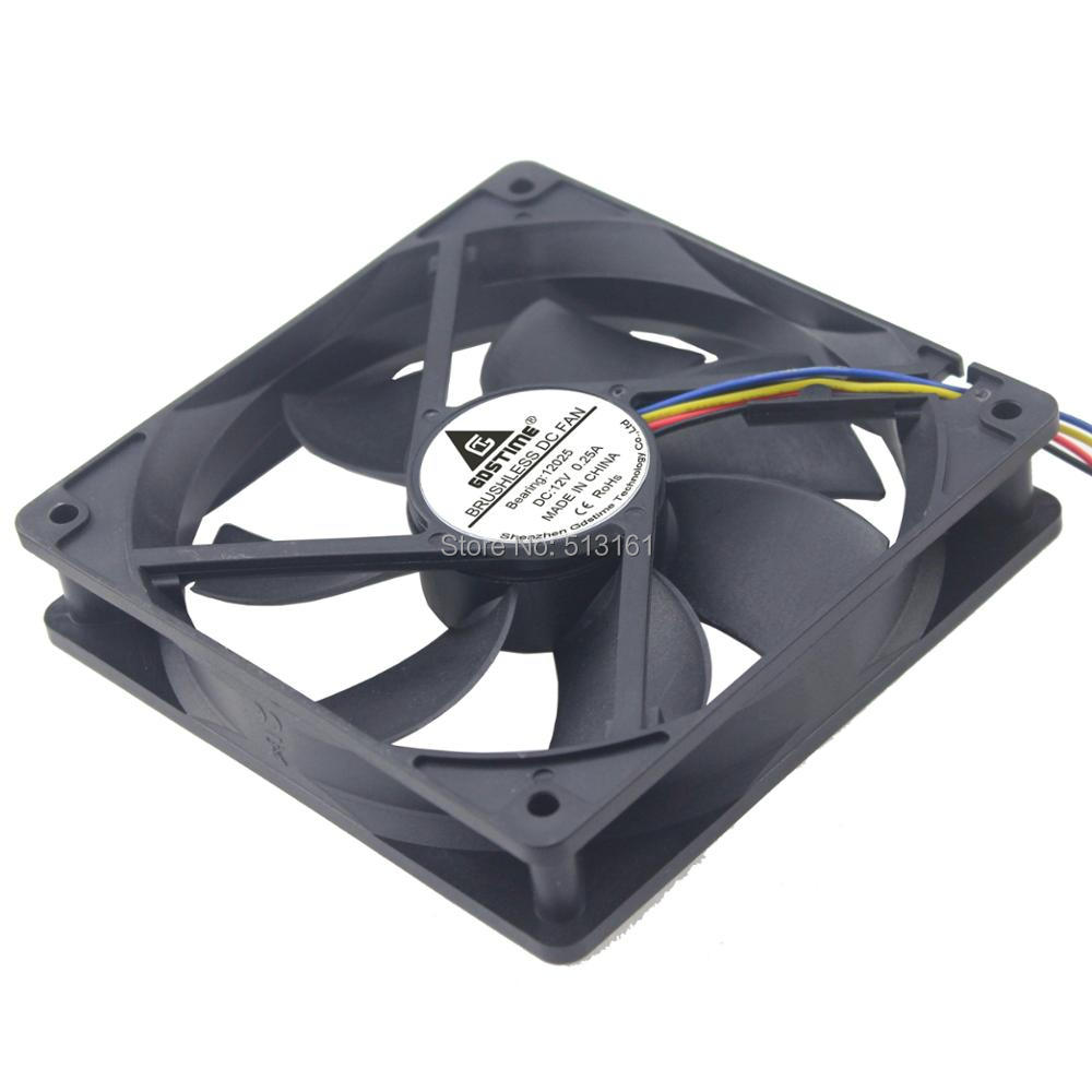 Купить с кэшбэком 5PCS Gdstime 120x120x25mm DC 12V 120mm PWM 4Pin Fan for PC Computer CPU Cooler Radiator