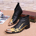 Fashion Autumn Winter Genuine Leather Mens Ankle Boots Gold Embroidery Dress Boots Party Zipper Black Mens Motorcycle Boots