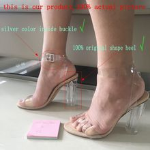 2017 Newest Women Pumps Shoes Celebrity Wearing Simple Style PVC Clear Transparent Strappy Buckle Sandals High Heels Shoes Woman