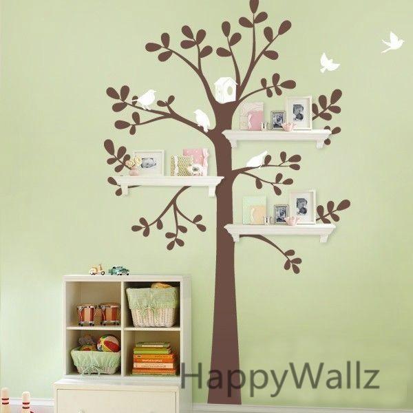 Aliexpress.com : Buy Baby Nursery Tree Wall Sticker Tree Wall Decal House  Birds Decorative DIY Shelf Family Decor Kids Room Shelf Tree Hot Sale T42  From ... Photo