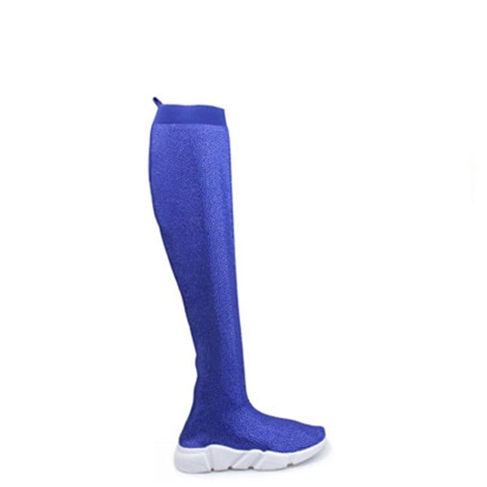Mode femmes tricot chaussette bottes Sport plat à la main automne hiver strass Sneaker femmes Air marque cuisse haute femmes bottes - 2