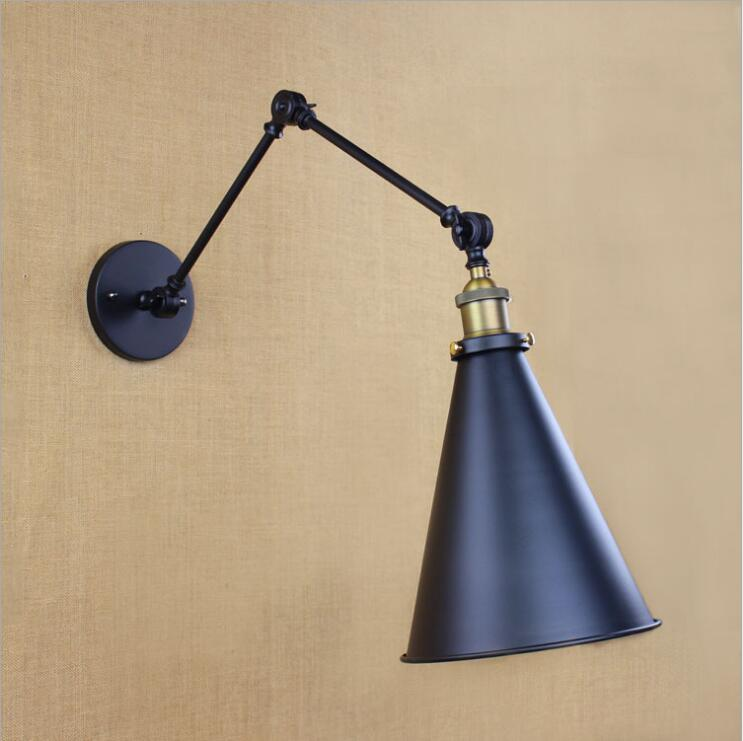 Retro  hotel creative contracted aisle warehouse bedroom rocker arm reading lamp shoot the long arm of LED wall lamp american creative fashion led the study bedroom mirror before the long arm of the head of a bed wall lamp wrought iron long arm