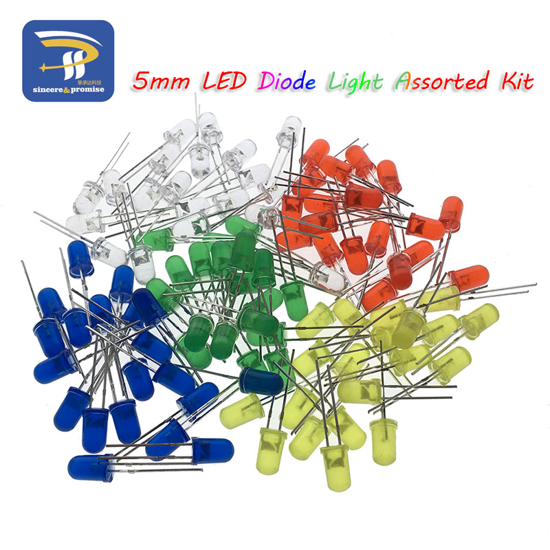 5Colors*20PCS=100PCS 5mm LED Diode Light Assorted Kit Green Blue White Yellow Red COMPONENT DIY kit new original(China)