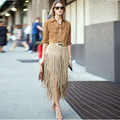 New Fashion Tassel Cashmere Leather Skirt  Women High Waist Khaki and Black Skirt A Word 1513