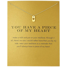Fashion Heart Dog Tag Pendant Necklace Women Minimalist Clavicle Chain Choker Necklaces Valentines Day Gift Card