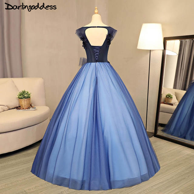 Luxury Ball Gown Wedding Dresses Arabic 2017 Royal Blue Princess 3D Flowers  Beading Tulle Wedding Gowns 53f2aaa56bce