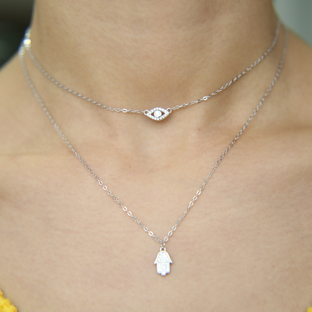 14K Yellow Gold February Birthstone Cubic Zirconia CZ Girl Charm Pendant with 2mm Figaro 3+1 Chain Necklace