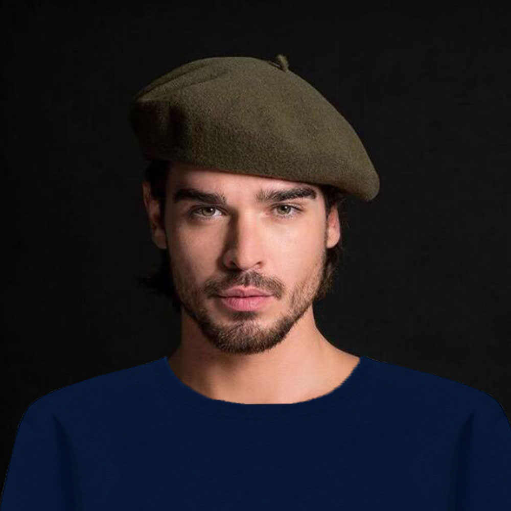 3631a9a2 ... joejerry 2018 Beret French Hats For Men Winter Wool Beret Painter Hat  Crochet Flat Cap Women ...