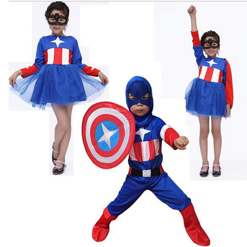 Halloween Costumes Children Kids Superhero Captain America Costume Cosplay Long Sleeve Clothing Set For Boys kids boys pilot costume cosplay halloween set for children fantasia disfraces game uniforms boys military air force jumpsuit