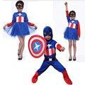 Trajes de Halloween Dos Miúdos Das Crianças de Super-heróis Capitão América Traje Cosplay Manga Longa Conjunto de Roupas Para Meninos
