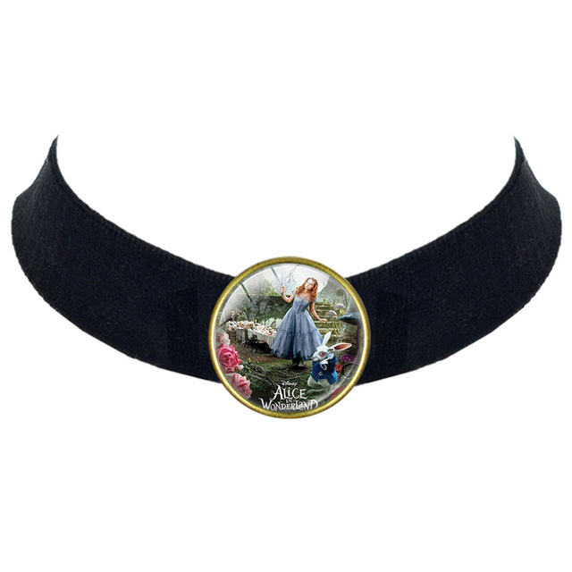 Us 293 10 Offalice In Wonderland Necklace Girl Mad Hatter Cute Women Black Velvet Choker Necklaces Pendants Christmas Gift In Pendant Necklaces - mad hatter roblox id