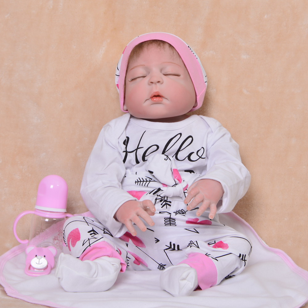 Simulation 57 cm True To Life Reborn Baby Dolls Newborn Girl Full Silicone Vinyl 23'' Babies Dolls Real Like Sleeping Baby Toys so real princess newborn dolls 23 reborn baby full silicone vinyl baby dolls 57 cm lifelike baby girl fashion kids gifts toys