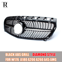 W176 Replaced Diamond Style ABS Front Bumper Grill Grille for Mecedes Benz W176 A180 A200 A260 A45 AMG 2013 2014 2015