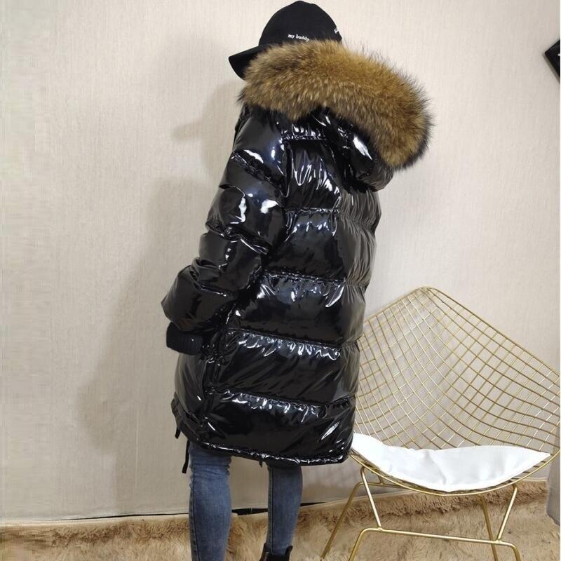 Winter Jacke Frauen Echt Pelzmantel wasserdichte Parkas Ente Unten Futter Winter Mantel Echt Waschbären Pelz Kragen Warme Schwarz Streetwear-in Parkas aus Damenbekleidung bei  Gruppe 2