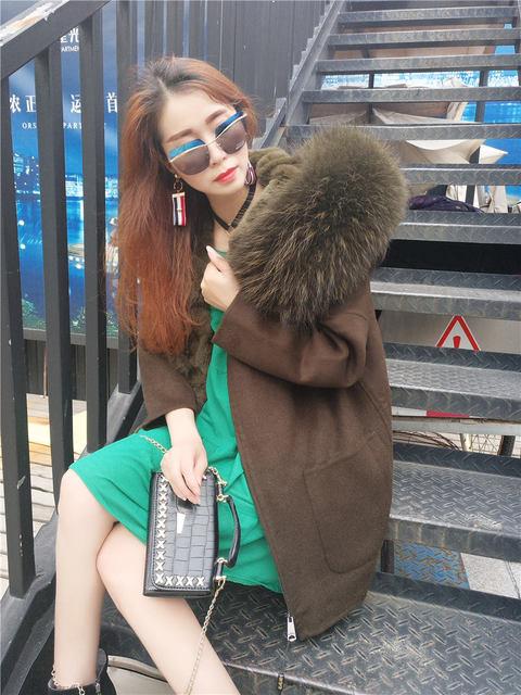 2017 New Winter Parka Wool Cashmere Coat Women Fur Jacket Overcoat Collar Hooded Rex Rabbit Fur liner Top Quality 5