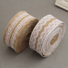 2 Roll Natural Jute Burlap Ribbon Lace DIY Trim Fabric For Sewing Wedding Decoration Accessories Wdith 5cm 1m/Roll