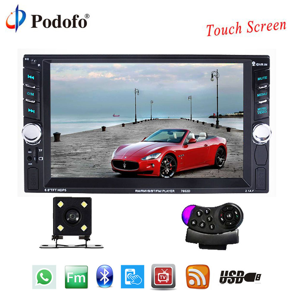 Podofo 2 Din Auto Audio Stereo Player 6.6 Touch Screen Car Radio Bluetooth autoradio AUX-IN USB AUX FM With Rear View Camera 7inch 2 din hd car radio mp4 player with digital touch screen bluetooth usb tf fm dvr aux input support handsfree car charge gps