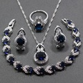 4PCS Women Trendy Jewelry Sets 925 Sterling Silver Blue Created Sapphire Earring Pendant Necklace Bracelet Ring Free Gift JS62